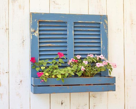 wood shutters, old wooden shutters, distressed painting, wood planter, vintage shutters, wall decor, upcycle shutter, antique wood wall,ooak