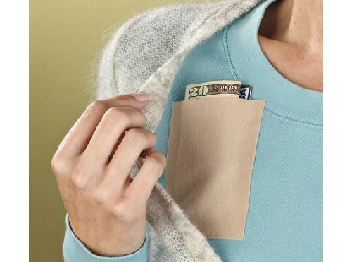Peel and stick instant pockets -- could be put on the inside of a dress without pockets.