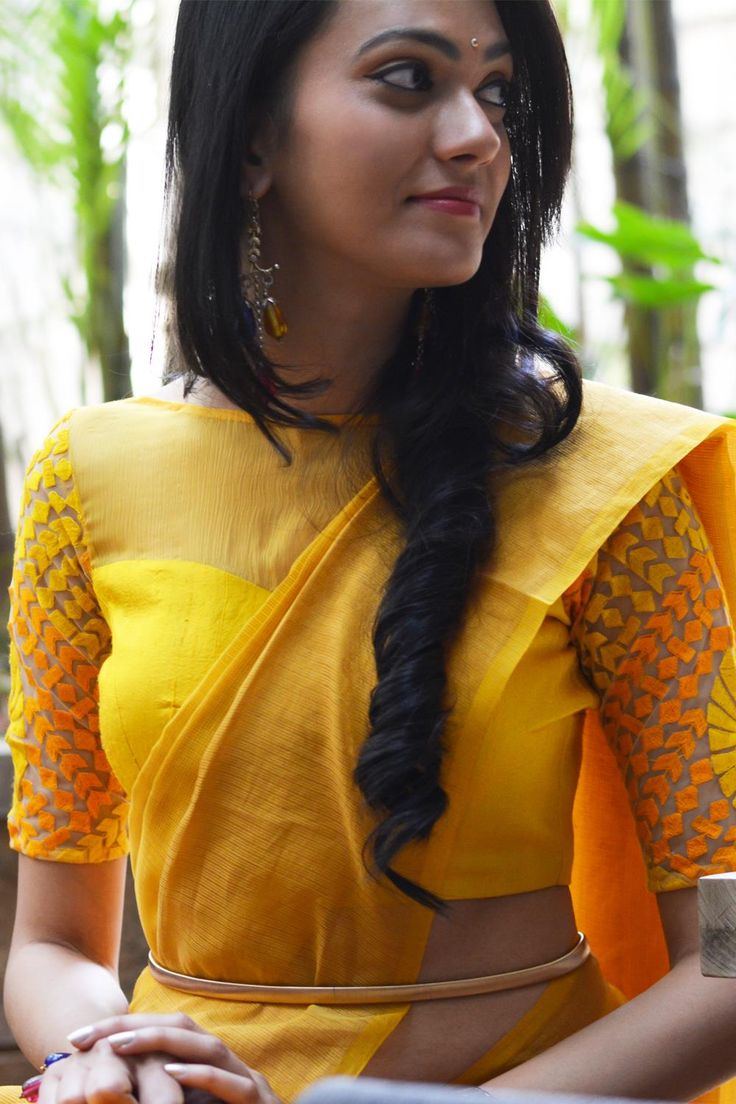 Yellow sheer and threadwork boatneck | House Of Blouse