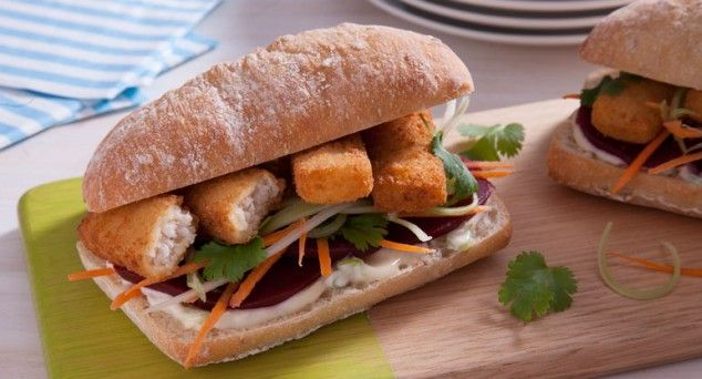 Feel like a kid again with this tasty Fish Finger Sub recipe.  #lunch #easycooking #sandwich