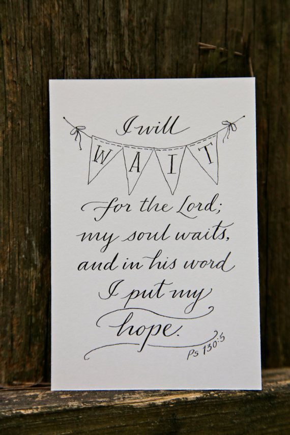 Psalm 130:5 Hand-Lettered Scripture Print Bella by Paperglaze