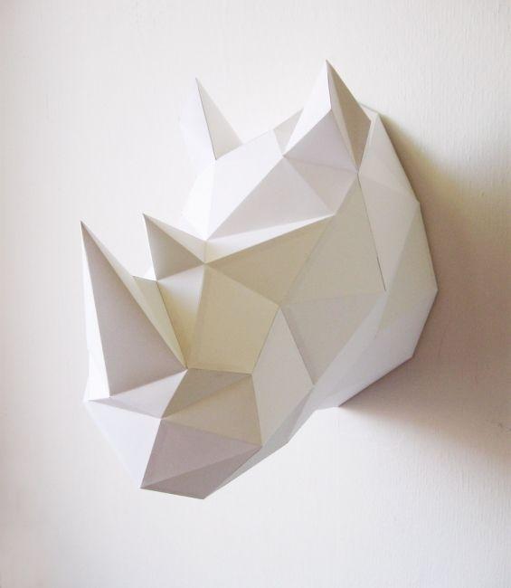 Rhino neushoorn origami folding kit D.I.Y assembli at Indie-ish.nl