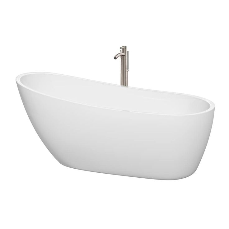 Wyndham Collection Florence 68-inch Freestanding Soaking Bathtub in White (chrome trim), Size 66 to 71 inches