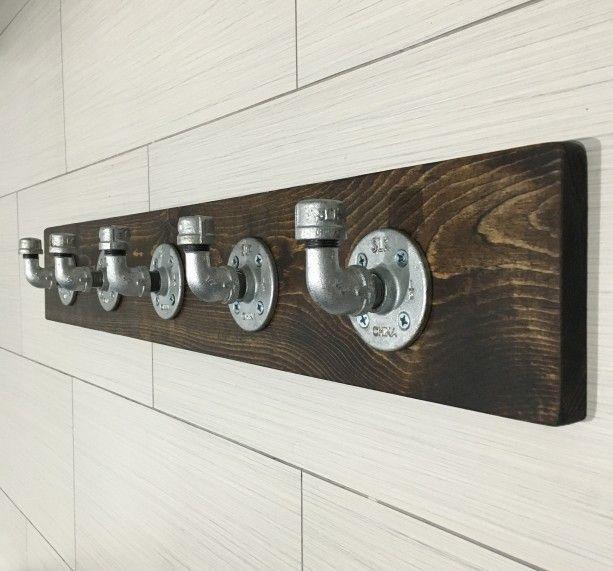 Industrial rustic modern handmade wall hook hanger rack
