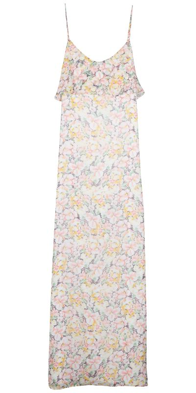A beautiful maxi dress in floral printed georgette -- the Hydeia Dress.