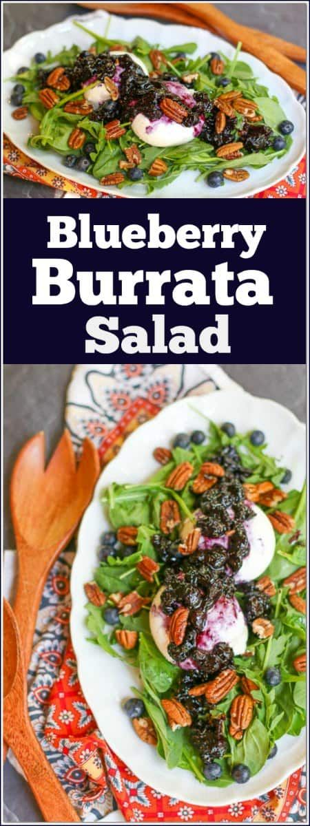 This lovely Blueberry #BurrataSalad is made with a delicious blueberry #balsamicreduction over a bed of fresh green arugula and baby spinach, then topped with roasted pecans.
