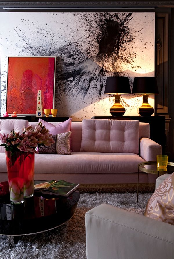 splatter wall art: Wall Art, Living Rooms, Home Interiors, Pink Couch, Pink Sofas, Color, Abstract Art, Interiors Design, Design Home