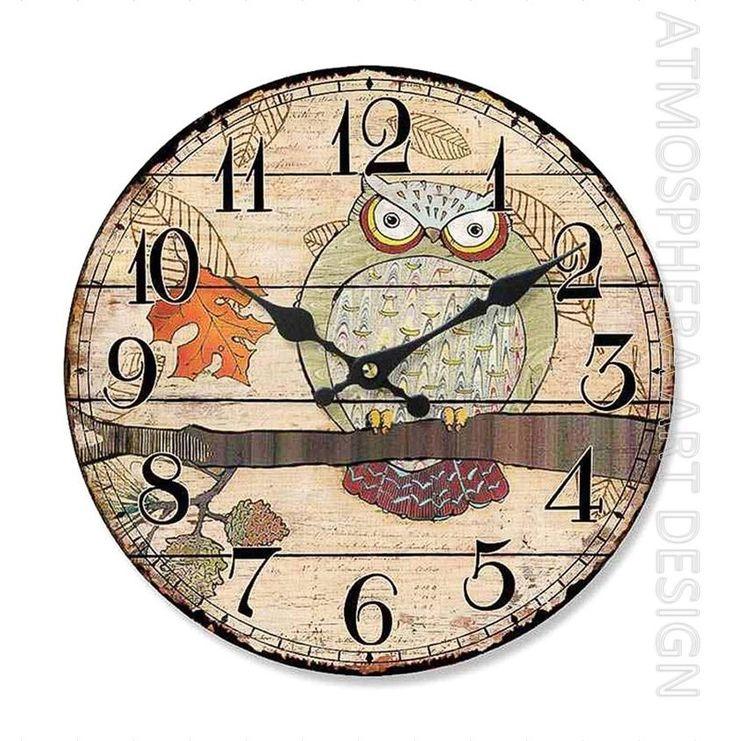 Orologio GUFO a muro da parete Ø 34 cm in legno MDF shabby chic
