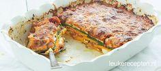 Vegetarische lasagne met zoete aardappel en courgette die bijna helemaal alleen maar uit groenten bestaat!