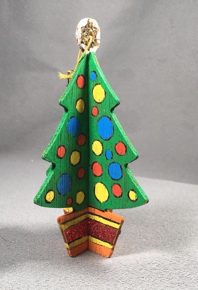 Vintage 3d Hand Painted Wooden Christmas Ornament Christmas Tree