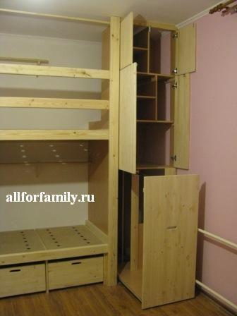 двухъярусная кровать из дерева своими руками: шкаф сбоку кровати