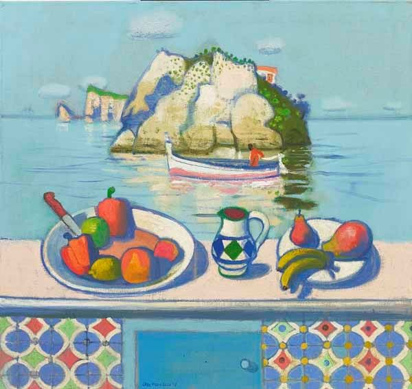 Leon Morrocco - Still Life with Passing Boat