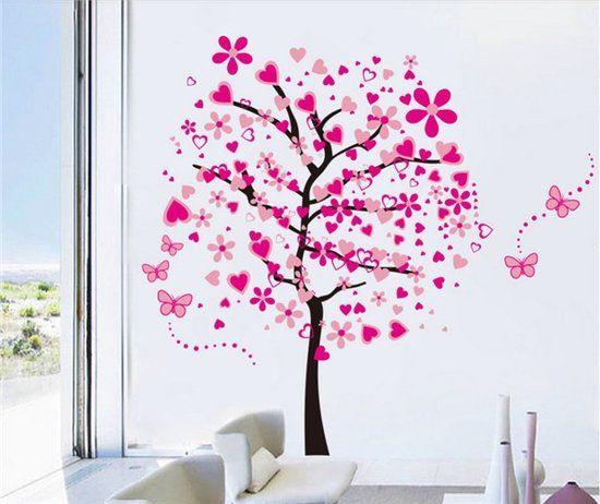 Boom Met Takken Tak Muursticker Roze Hartjes Amp Vlinders