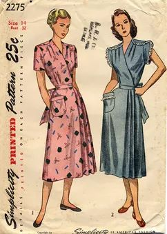 Simplicity 2275 A - Vintage Sewing Patterns ~ Dated 1948. Front wrap dress with options for short inset or cap sleeves. Gathers at shoulders and overlapping, curved shoulder seams (shoulder extends from bodice back). A-line skirt with pleats at opening. Waist ties. Single patch pocket on right-hand skirt.