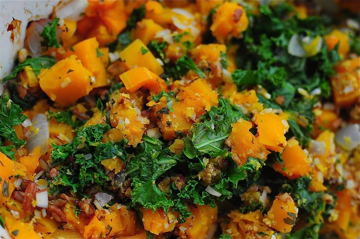 Roasted Butternut Squash with Kale and Almond Pecan Parmesan - The ...