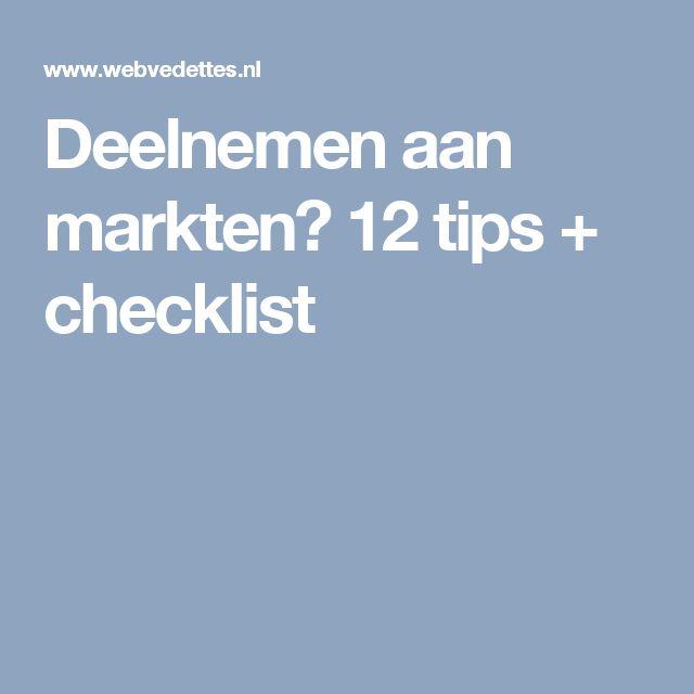 Deelnemen aan markten? 12 tips + checklist