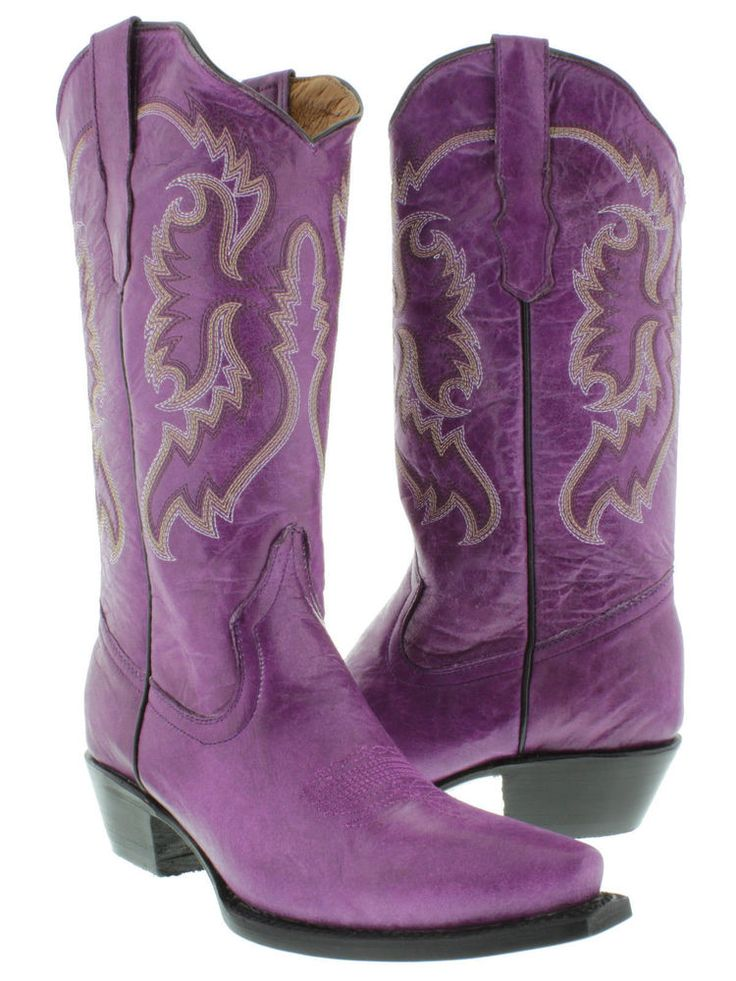 Women's Purple Casual Classic Western Style Cowboy Boots Plain Leather | Clothing, Shoes & Accessories, Women's Shoes, Boots | eBay!