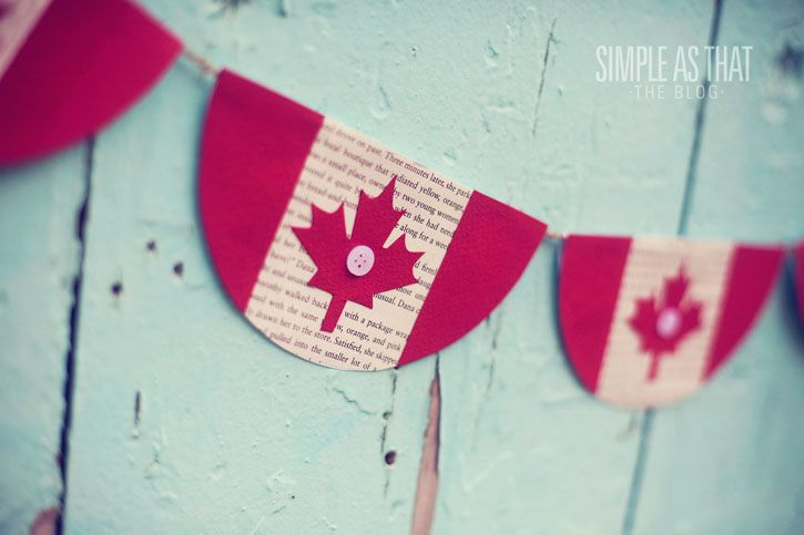 Create a simple Canada Day Bunting using supplies you have on hand - twine, book pages and colored card stock! Happy Canada Day!