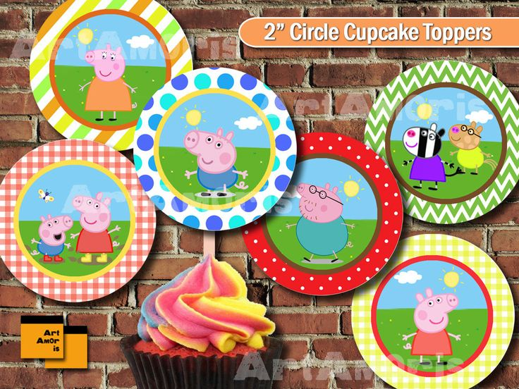 Peppa Pig Cupcake Topper, Peppapig Party circle, Party Printable, Party Decoration, 2 inch circle, george, papa pig, mama pig, peppa pig /TF by ArtAmoris on Etsy