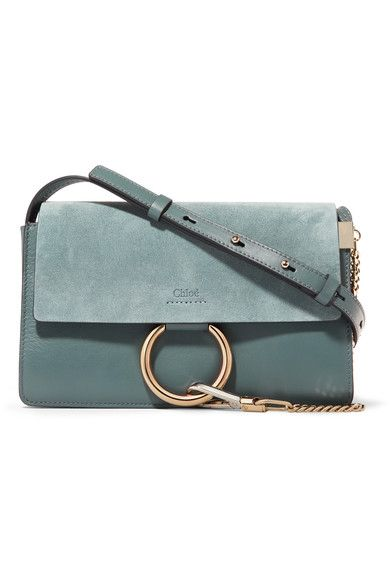 Chloé - Faye Small Leather And Suede Shoulder Bag - Blue - one size