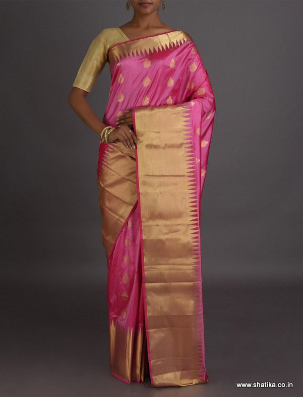 Roma Broad Gold Border And Big Bootis #BangaloreSilkSaree