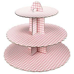 3 Tier Pink Gingham Cupcake Stand each ideal for baby themes This cardboard cupcake stand is an ideal way to serve cupcakes Quick and easy to