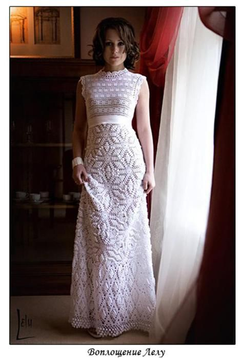 Lovely Wedding Dress paid crochet pattern - use a different color and it could be a great sundress