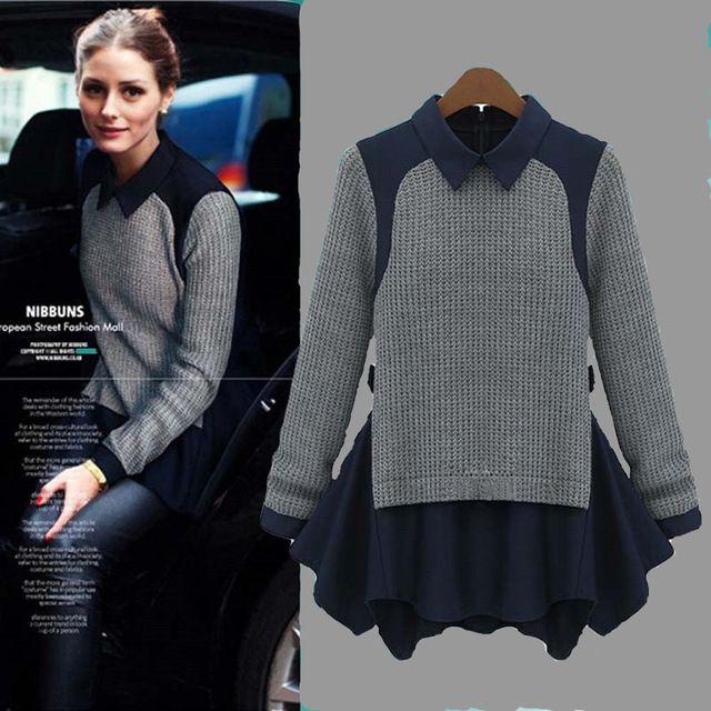 2016 новая зимняя женская мода свободного покроя оставить две модели пуловер…