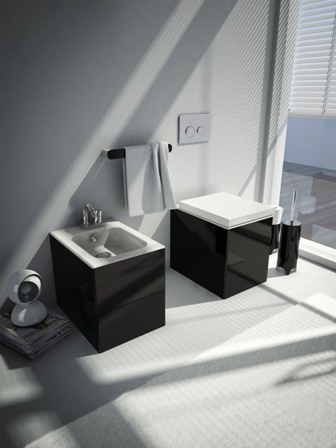 Block, design Meneghello Paolelli Associati. #sanitari #sanitaries #design #bathroom #ArtCeram #decor #black