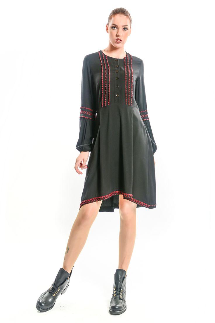 Otantik Diler Kısa Elbise - Siyah