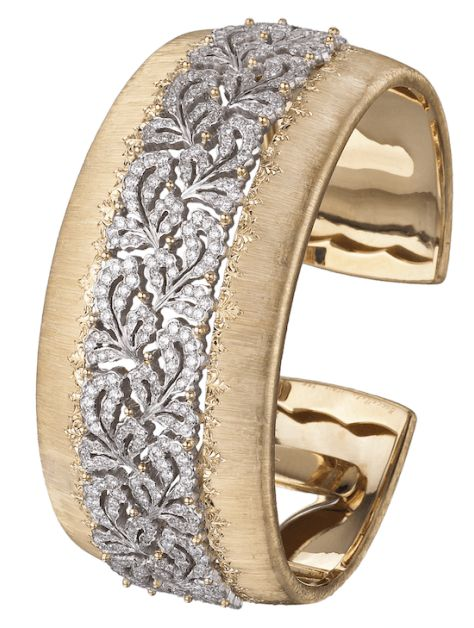 Buccellati Dream Cuff Bracelet in yellow and white gold with diamonds