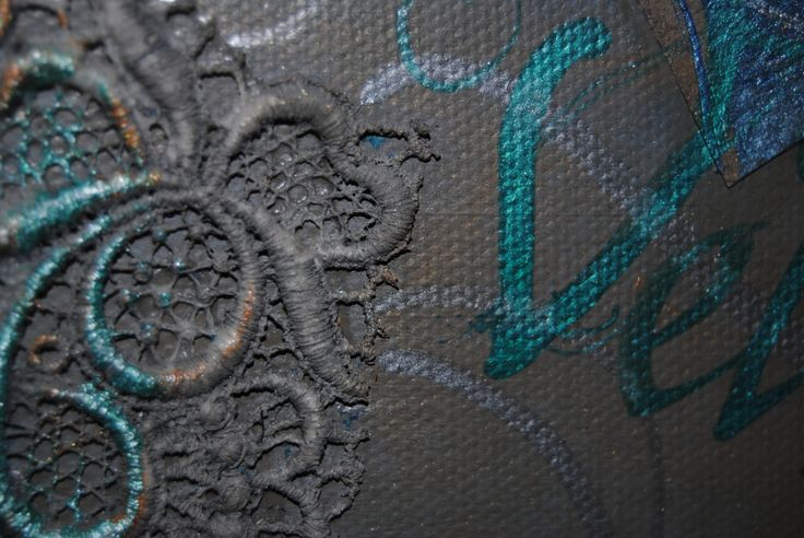 Lace on canvas with hand lettered words by Judith Ann. www.beautifulwriting.com.au