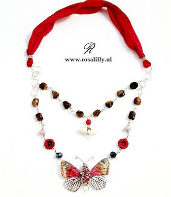 Fly - Necklace with delicate butterfly, tiger eye and sari silk.