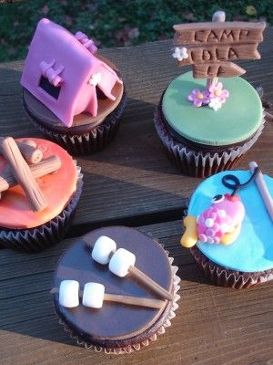 Girlie camping cupcake toppers                                                                                                                                                      More