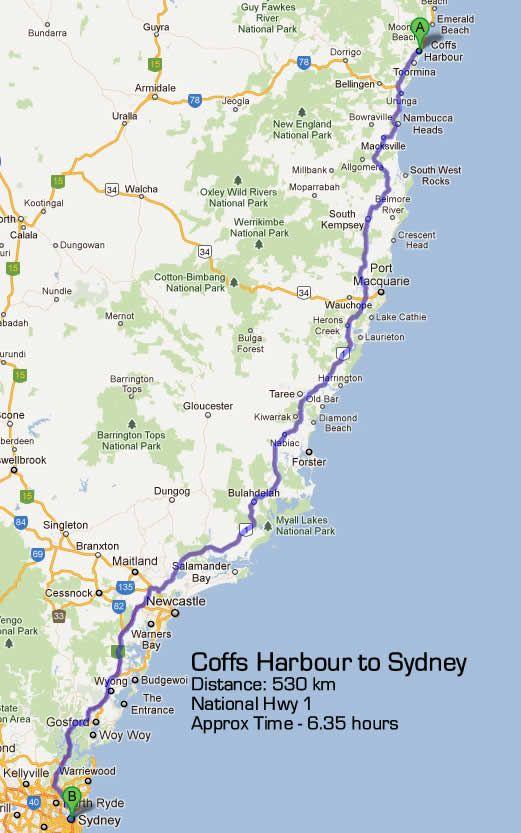 sydney to coffs harbour road maps