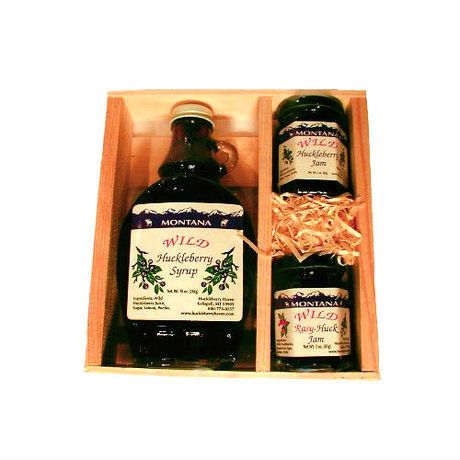 The Huckleberry Syrup and Jam Gift Box includes Huckleberry Jam, Huckleberry Syrup, and Rasy-Huck Jam