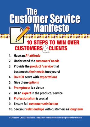 The Customer Service Manifesto #infographic // Manifiesto de Atención al Cliente #infografia (repinned by @ricardollera)