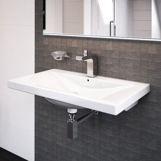 The Auckland 600mm wall mounted basin. A beautifully crafted square wall hung basin that would be perfectly complimented by a selection of better bathrooms basin mixer taps.