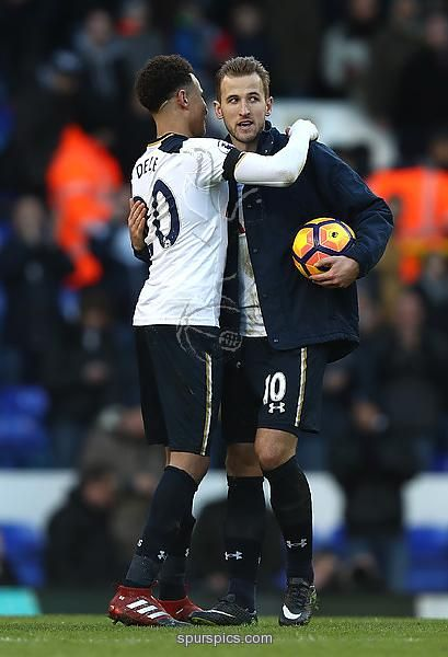 LONDON, ENGLAND - JANUARY 14: Dele Alli of Tottenham Hotspur (L) and Eric Dier of Tottenham Hotspur (R) embrace after the Premier League match between Tottenham Hotspur and West Bromwich Albion at White Hart Lane on January 14, 2017 in London, England