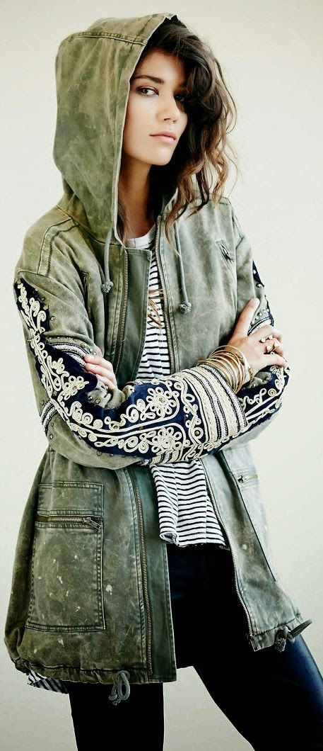 Free People Embroidered Jacket | That Stylish Girl                                                                                                                                                      Más