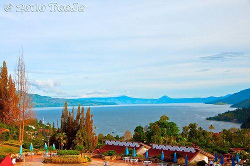 Last morning in Parapat.Morning Toba lake view from hotel in Parapat.