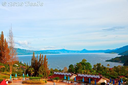 Last morning in Parapat.Morning Toba lake view from hotel in Parapat.