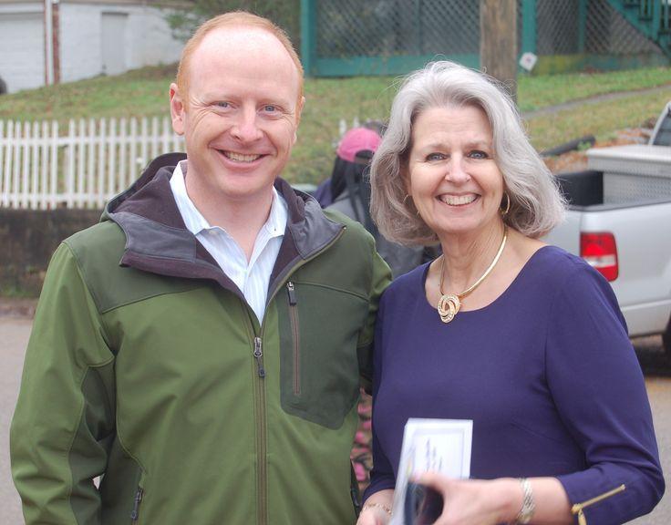 Lebron Womack, Habitat's president, with Linda Mines, past president.