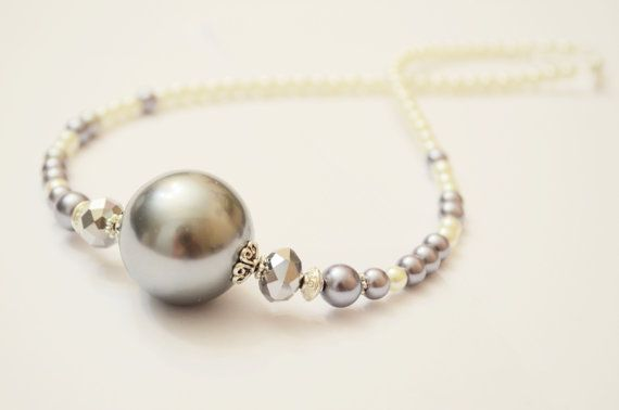 Giant Glass Pearl Beaded Choker Necklace Seed by OxyFineCrafts