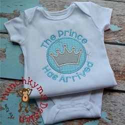 The Prince Has Arrived Applique - 3 Sizes!   What's New   Machine Embroidery Designs   SWAKembroidery.com Munchkyms Design