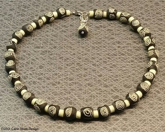 Handpainted Krobo black white sandcast swirl beads by CBlomsDesign