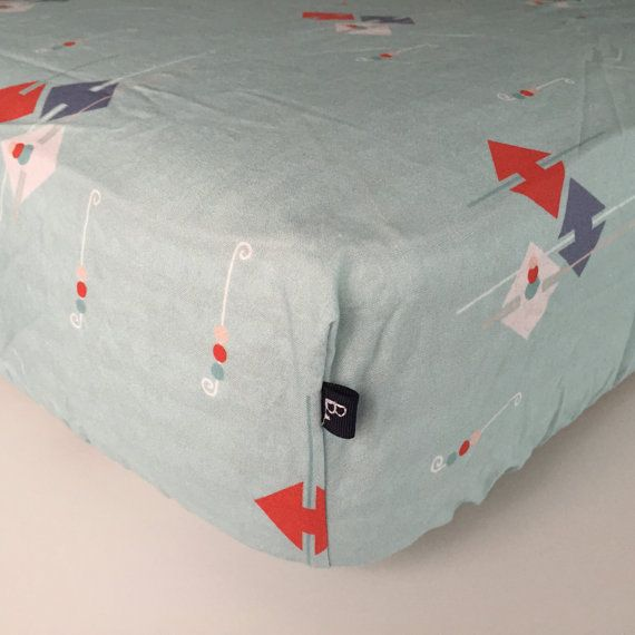 FITTED CRIB SHEET  Green with Red Blue White Arrows  by Beakyriboo