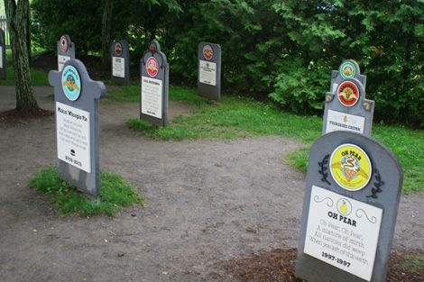 The funniest part of the Ben and Jerry's campus is the flavor graveyard, where discontinued flavors rest for all eternity.