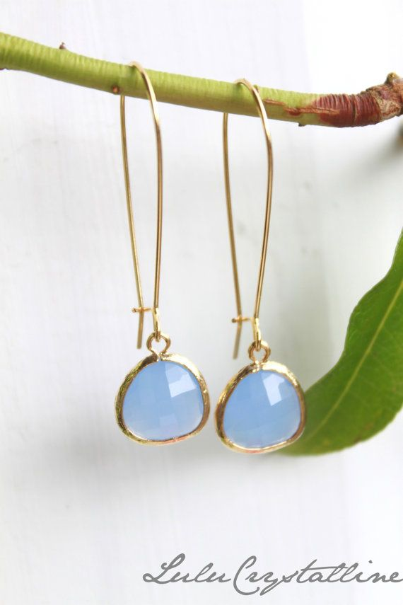 Blue Chalcedony Earrings - Gold Dangle Earrings - Stone Earrings - Drop Earrings - Birthstone Earrings - Blue Jewelry - Quartz Earrings