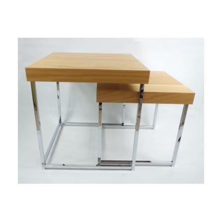 Set de 2 tables basses gigognes en ch ne et chrome bass - Tables basses rectangulaires ...